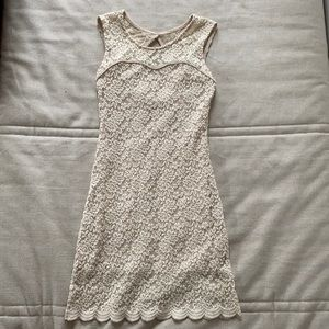 Off-white, cream, lace form fitted dress